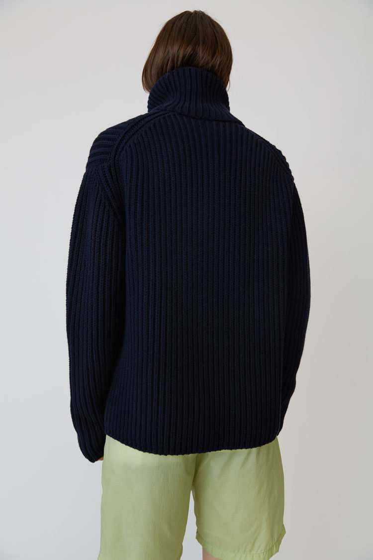 Acne Studios - Zippered polo sweater Navy blue - 3