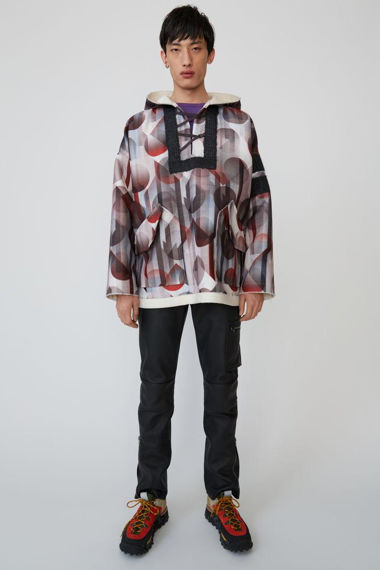 아크네 스튜디오 Acne Studios Geometric-print hooded pullover brown/white,Brown/white