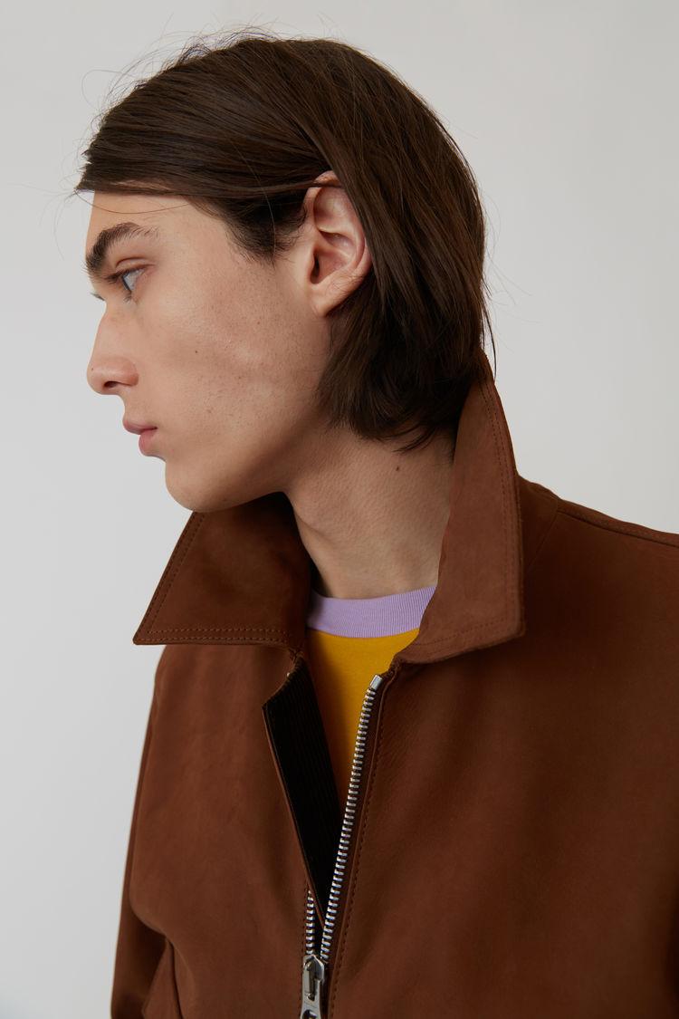 Acne Studios - Short leather jacket Cognac brown - 7