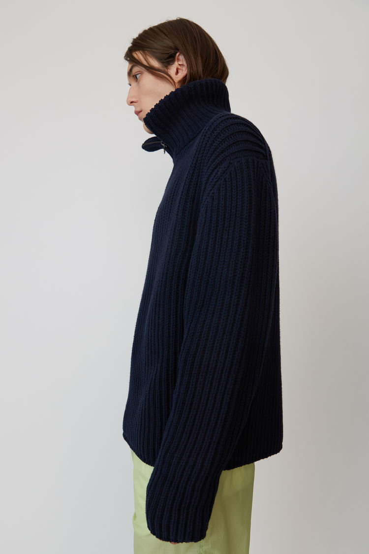 Acne Studios - Zippered polo sweater Navy blue - 4