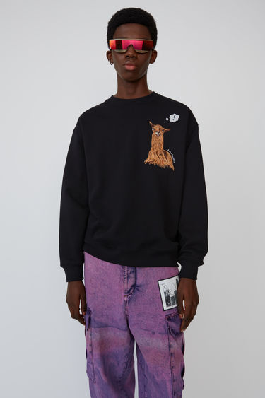 아크네 스튜디오 Acne Studios Animal-embroidered sweatshirt black