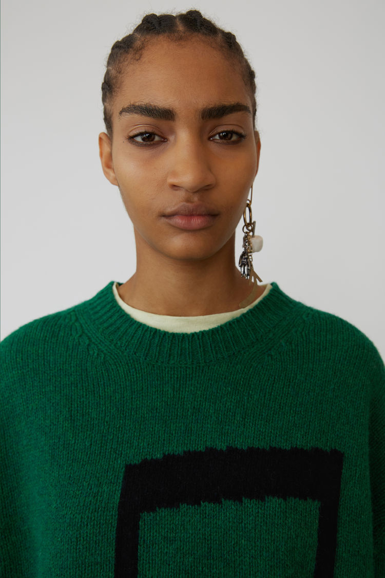 Acne Studios - Music note sweater Green/black - 2