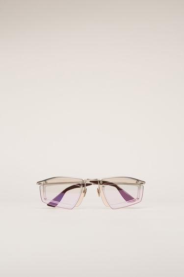 아크네 스튜디오 Acne Studios Double-layer shield sunglasses silver/light pink mirror