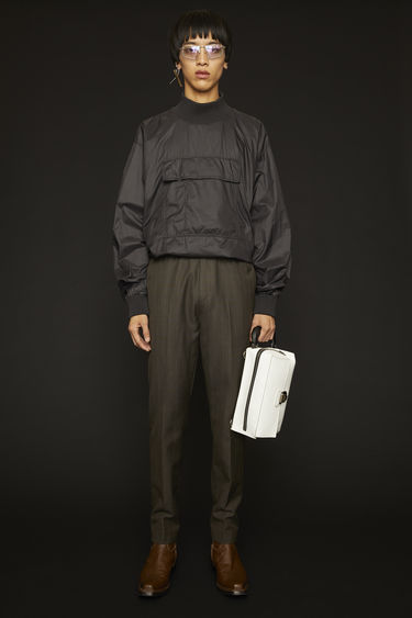 아크네 스튜디오 Acne Studios Elastic-waist checked trousers grey/brown