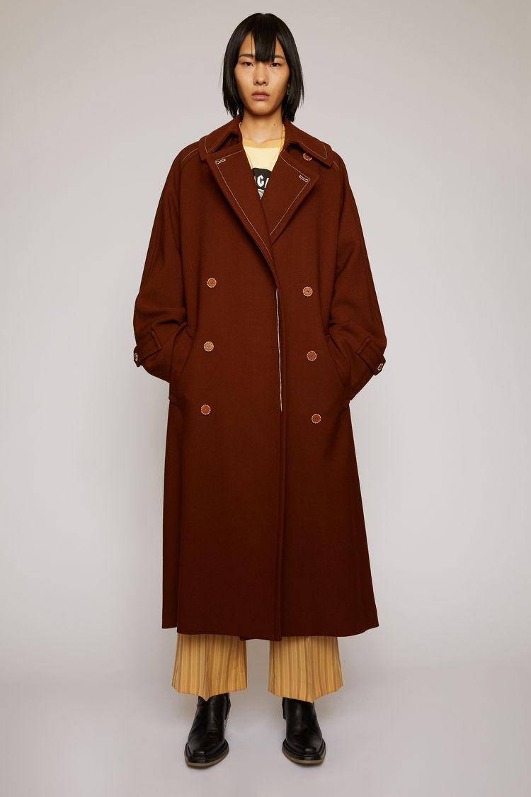 아크네 스튜디오 Acne Studios Wool-twill trench coat rust brown