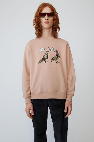아크네 스튜디오 Acne Studios Animal-embroidered sweatshirt old pink