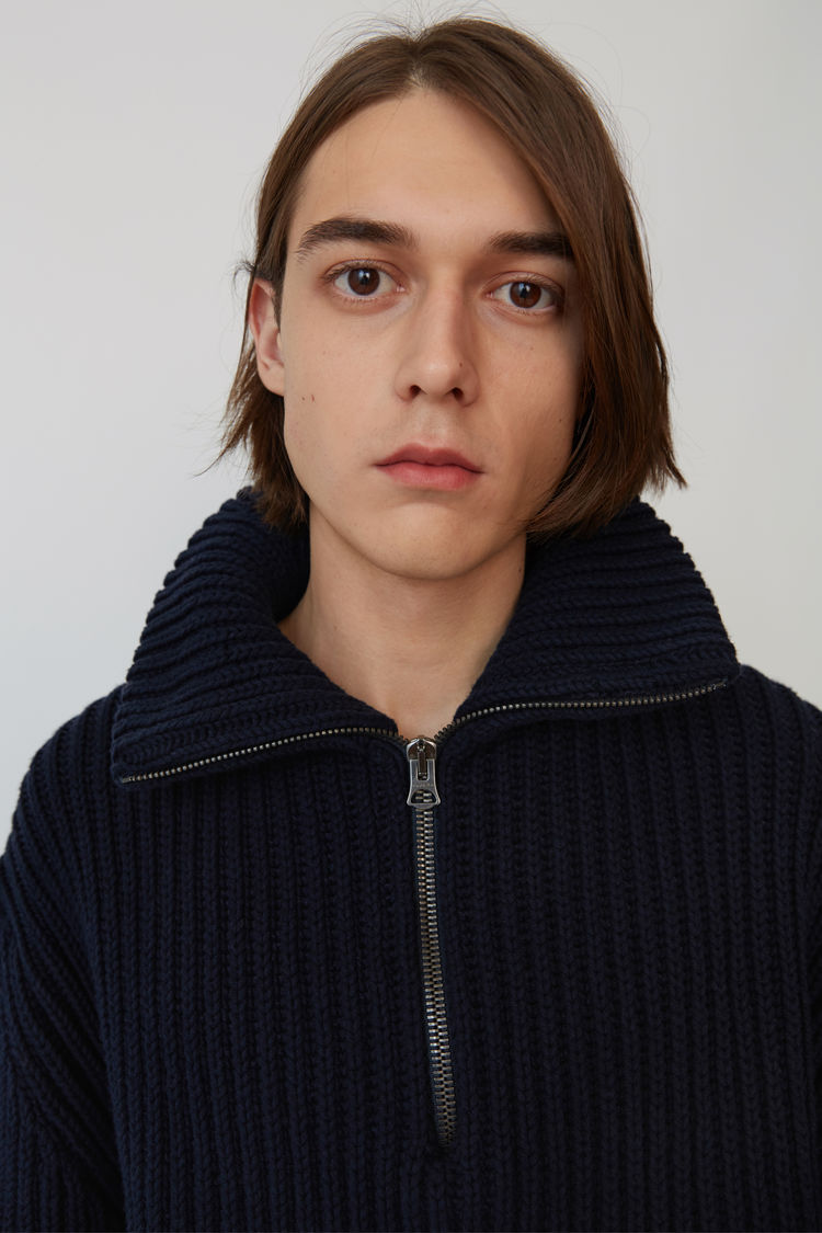 Acne Studios - Zippered polo sweater Navy blue - 2