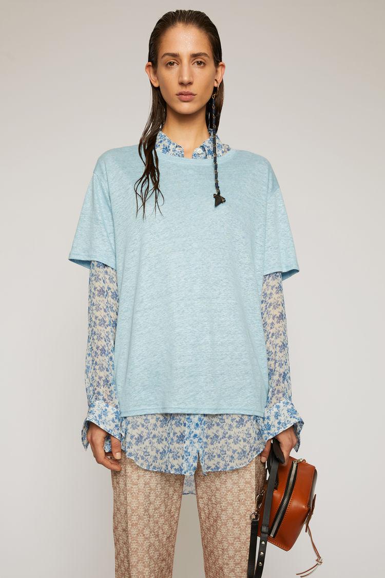 아크네 스튜디오 Acne Studios Linen t-shirt powder blue