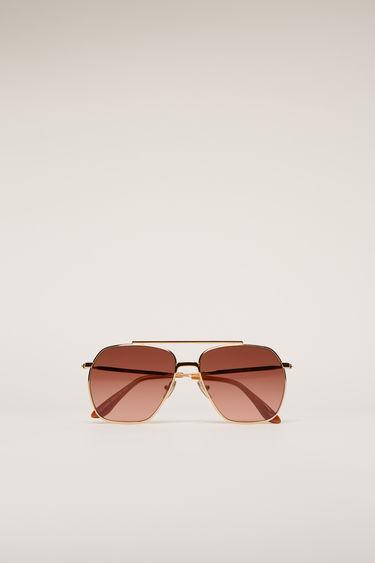 아크네 스튜디오 Acne Studios Aviator metal sunglasses gold/dark burgundy degrade