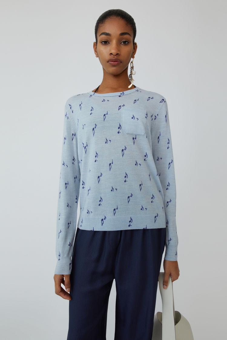 Acne Studios - Patterned sweater Pale blue melange - 1