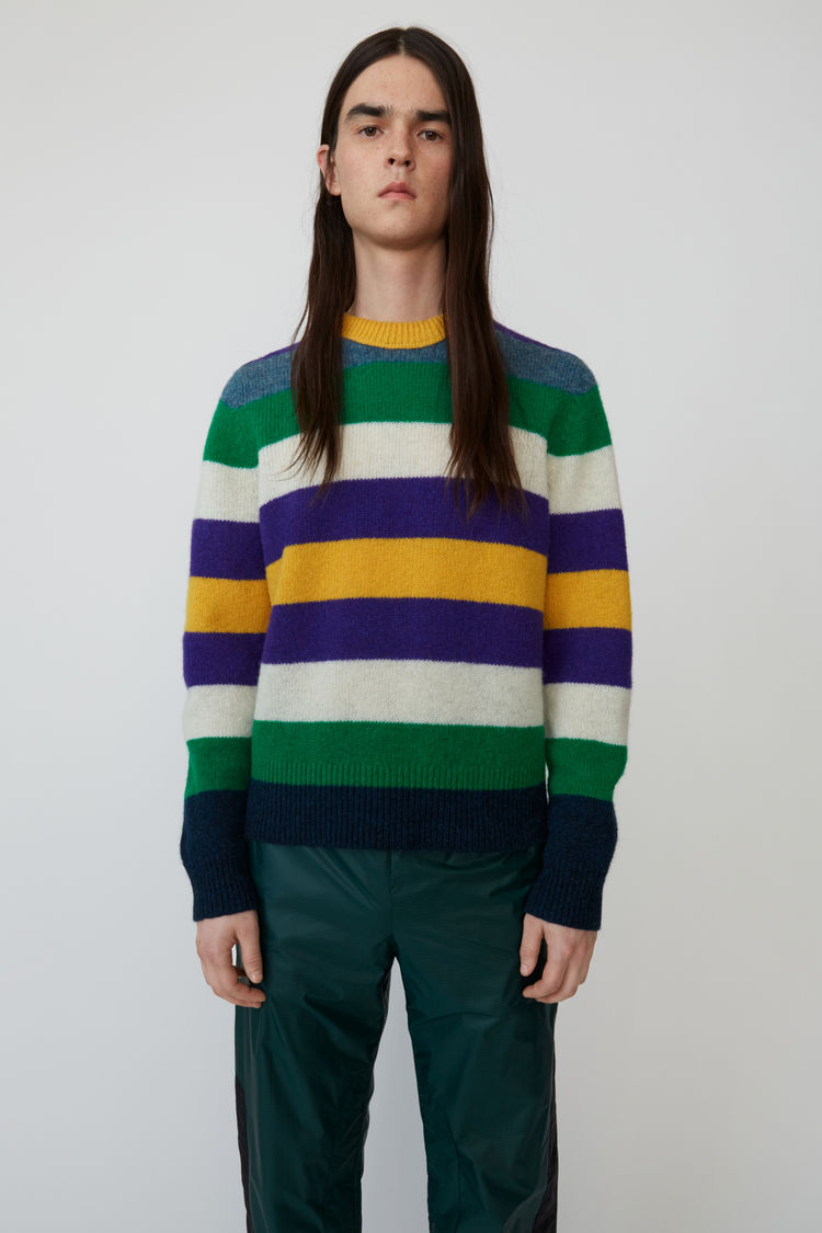 아크네 스튜디오 Acne Studios Striped crewneck sweater green multicolor