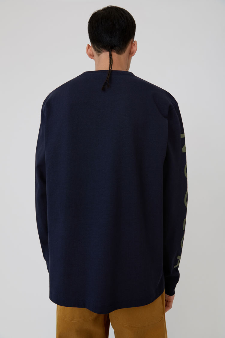 Acne Studios - Langärmliges T-Shirt mit Print Marineblau - 3