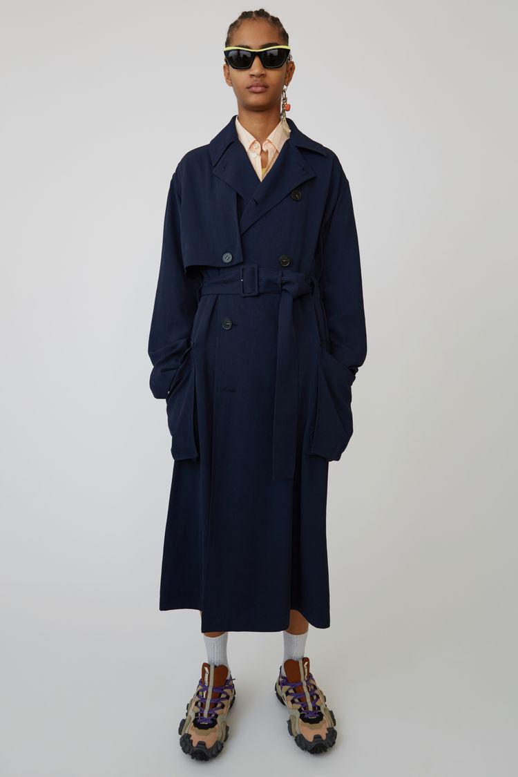 아크네 스튜디오 롱 트렌치 코트 Acne Studios Long trench coat midnight blue