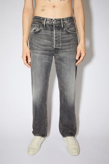 Acne Studios washed out grey jeans are made from rigid denim with a deep rise and a loose leg.