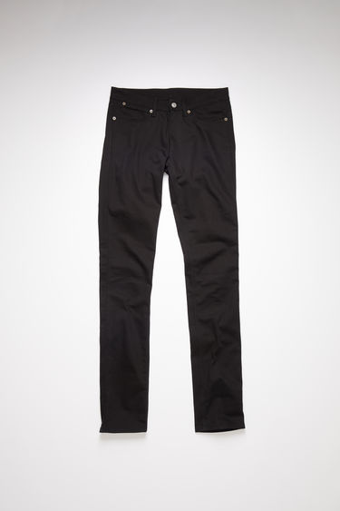 Acne Studios Max Stay Black jeans are crafted from comfort stretch denim and shaped to sit low on a waistband before falling to slim legs.