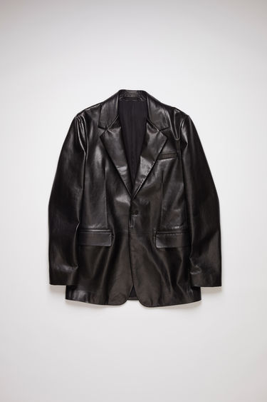 Acne Studios black single-breasted blazer is made of leather with a long, slim fit.