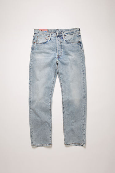 Acne Studios 2003 Light Blue Trash jeans are crafted from rigid denim that's been washed to give a whiskered, lived-in appeal. They're cut to sit low on the waist and have a dropped inseam that sets a loose silhouette.