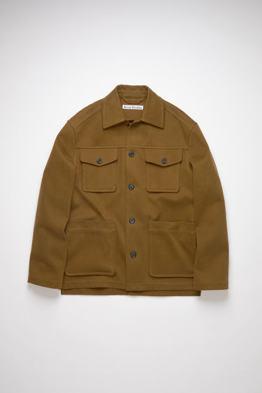 Acne Studios military green shirt jacket is made of unlined cotton with a classic fit.