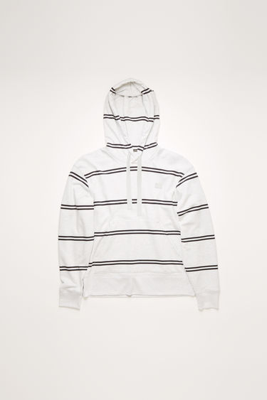 Acne Studios pale grey melange hooded sweatshirt is patterned with spaced stripes and finished with a tonal face-embroidered patch on the chest.