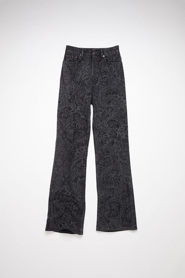 Acne Studios black jeans are made from rigid denim with a high rise and a bootcut leg.