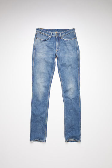Acne Studios Max Mid Blue jeans are crafted from comfort stretch denim that's faded and whiskered to give a worn-in appeal. They're shaped to sit low on a waistband before falling to slim legs.
