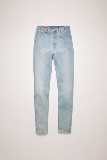 Acne Studios Peg Light Blue jeans are crafted from super stretch denim with a vintage light blue wash and cut to a high-rise silhouette with skinny legs.