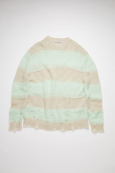 Acne Studios mint/grey textured block stripe sweater has an oversized fit with distressed details.