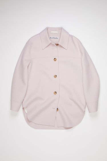 Acne Studios light purple unlined shirt-style jacket is made of wool with a relaxed fit.