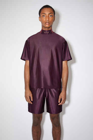 Acne Studios maroon red mock neck t-shirt is made of polyester with a logo at the center neck.