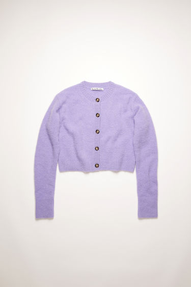 Acne Studios Light purple cardigan is crafted from an alpaca-wool blend to a boxy silhouette and neatly finished with ribbed edges around the neckline, cuffs and hem.