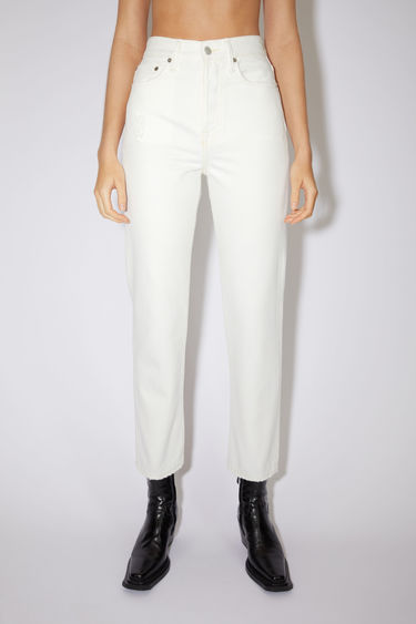Acne Studios white jeans are made from rigid denim with a high rise and a straight leg.