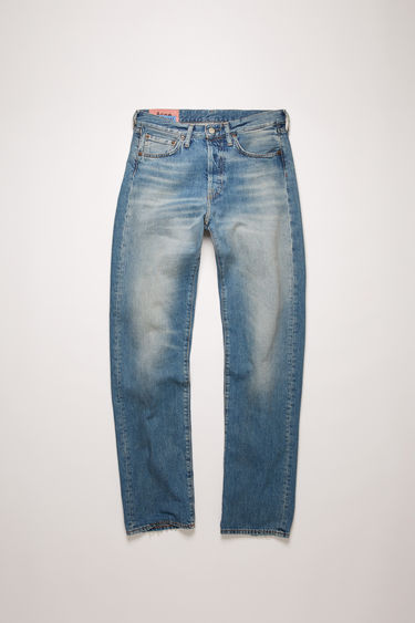 Acne Studios 1997 Mid Blue Trash jeans are crafted from rigid denim that's washed to give a time-worn appeal. This pair is cut to fit slim and sit high on the waist before falling into straight legs.