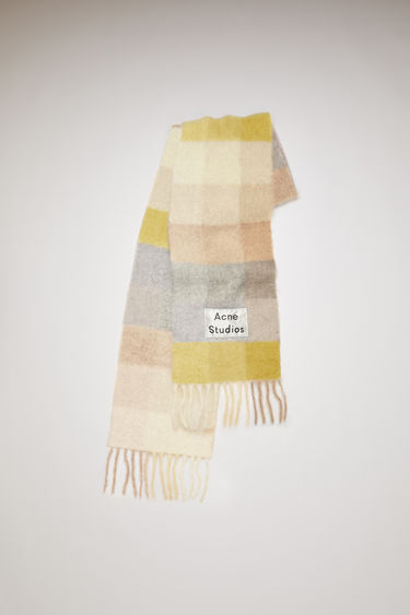 Acne Studios yellow/grey multi check scarf is spun with soft alpaca, wool and mohair and has an upscaled logo patch and fringed edges.