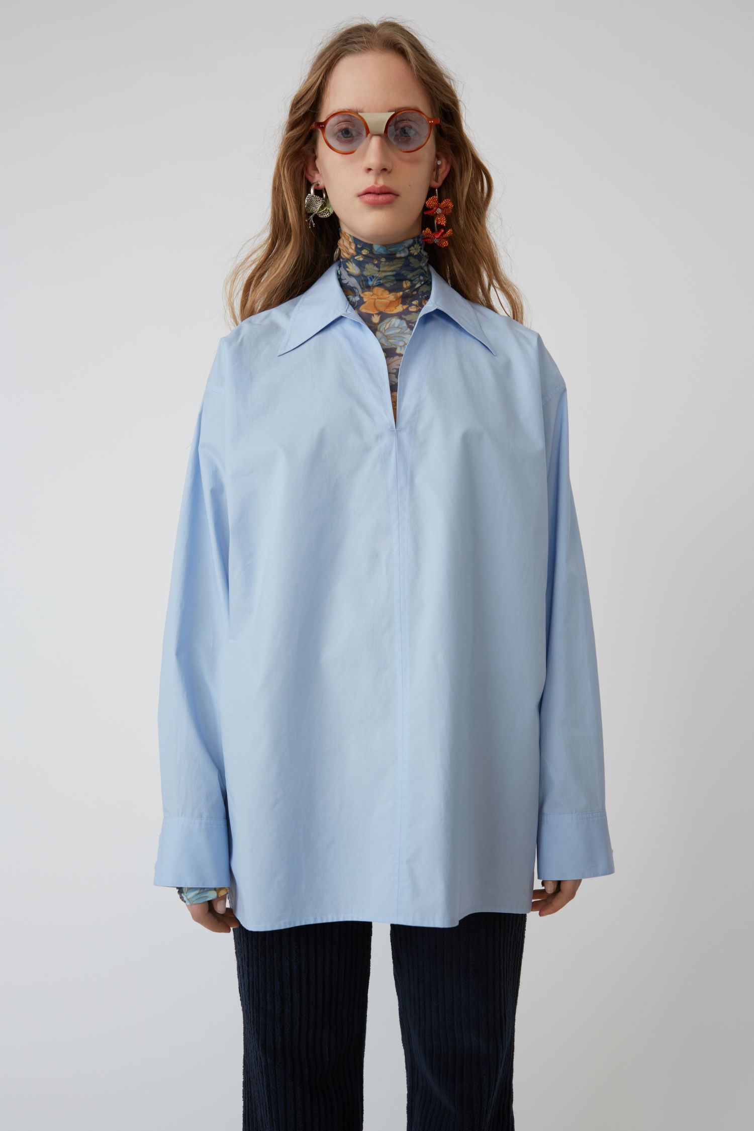 ACNE STUDIOS Peasant-inspired shirt light blue