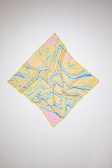 Acne Studios light pink square bandana scarf is made of a cotton/silk blend, featuring psychedelic striped artwork.