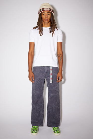 Acne Studios optic white organic cotton t-shirt features a ribbed crew neck and an embroidered tonal face patch.