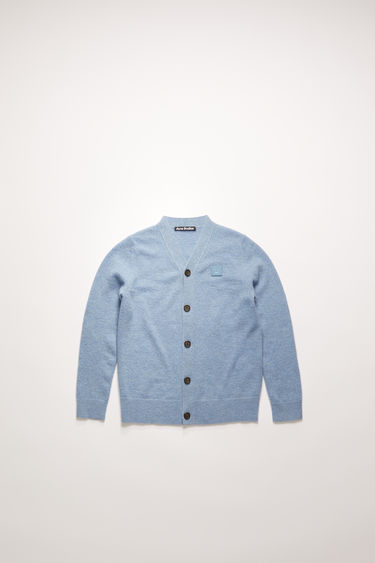 Acne Studios mineral blue cardigan is knitted from soft wool in a fine gauge and accented with a tonal face-embroidered patch on the chest.