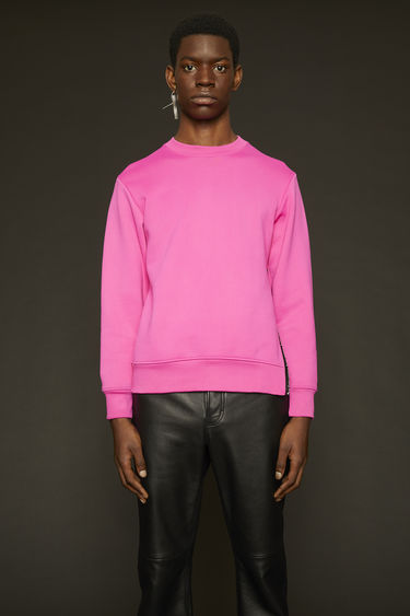 Acne Studios magenta pink sweatshirt is made from technical loopback jersey that has a subtle lustre finish and it features a branded zip placket that runs down the side seam.