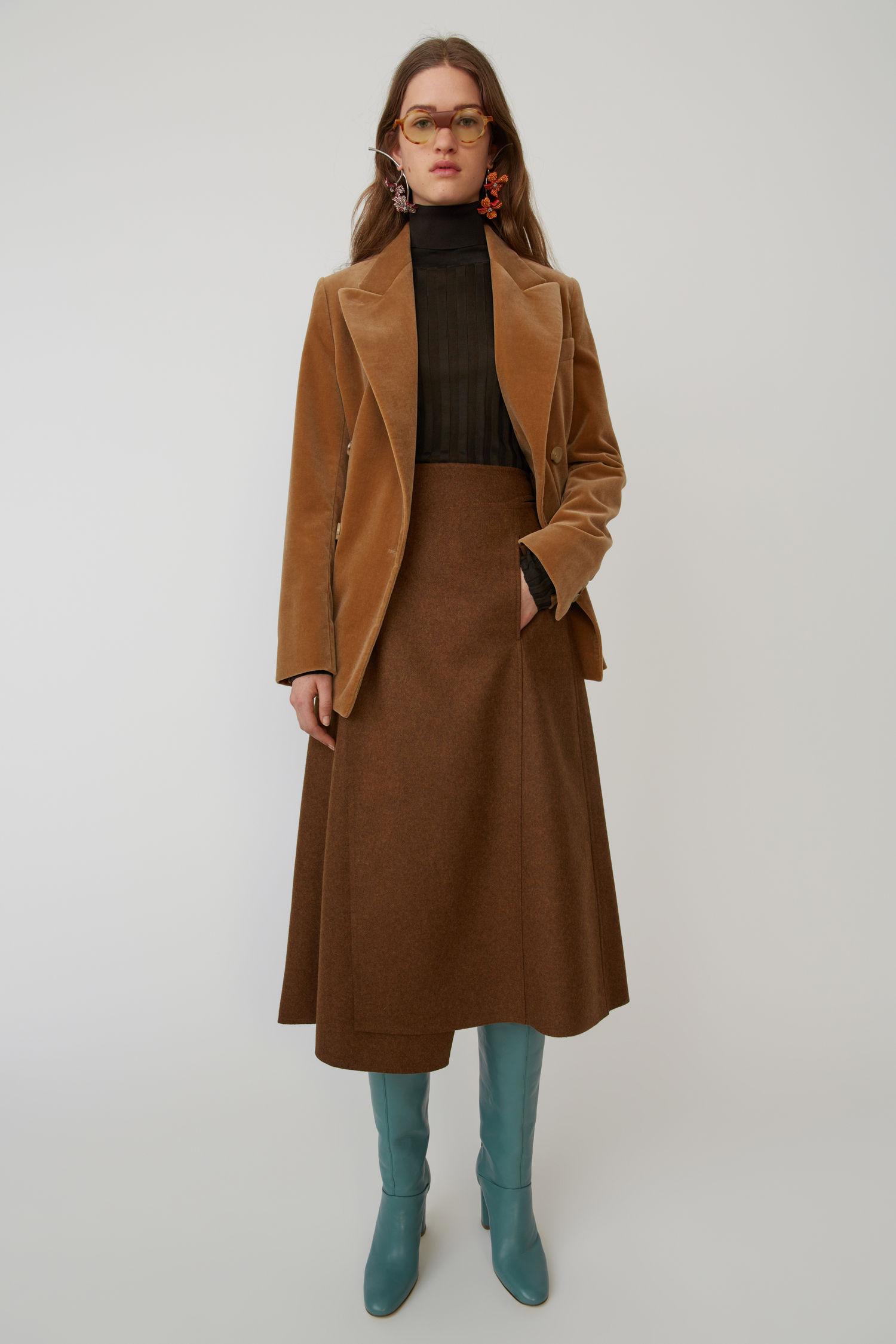 ACNE STUDIOS A-line wrap skirt caramel brown