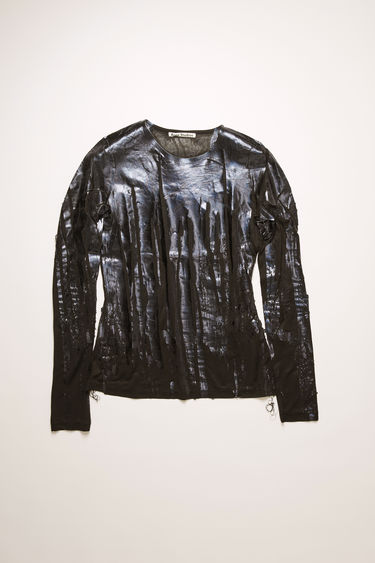 Acne Studios black top is crafted to a second-skin fit with a round neckline and slim, long sleeves and features a print of metallic brush strokes.