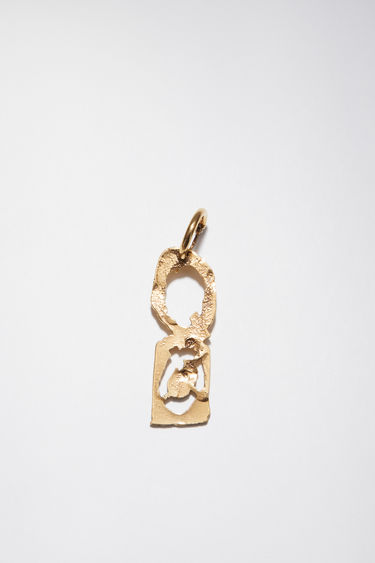 Acne Studios gold earring is crafted with a hammered pendant and features a stencil of the letter 'Q', then secured via a hinge fastening.