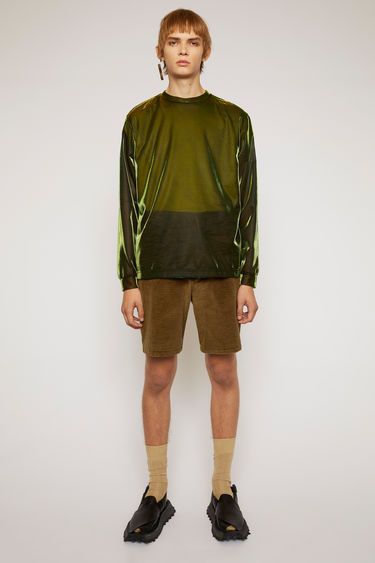 Acne Studios olive green shorts are cut from soft corduroy with a high-rise waist and straight legs and finished with wide belt loops and round patch pockets.