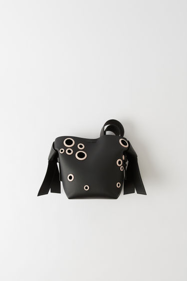 Leather goods Musubi Mini Eyelet Black/powder pink 375x