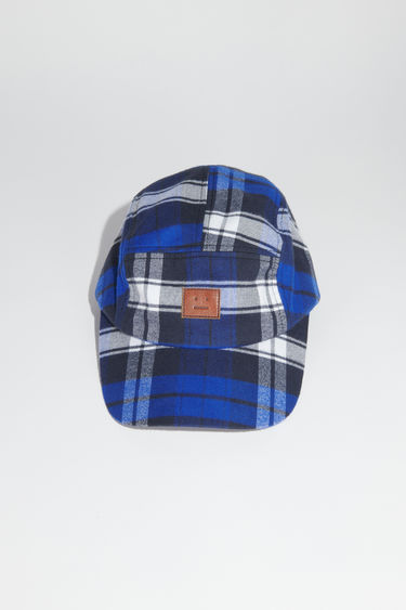 Acne Studios electric blue/off white baseball cap is made from plaid organic cotton with a face logo patch.