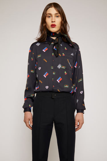 Acne Studios multi black shirt is crafted from viscose that has a fluid drape and silk-like sheen and patterned with neon sign motifs on front and back. It's neatly cut with a button-down point collar and a chest patch pocket.
