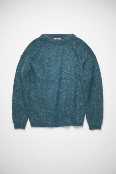 Acne Studios teal sweater is knitted from soft wool and mohair-blend yarn and has a ribbed crew neckline and dropped shoulders to create a relaxed silhouette.