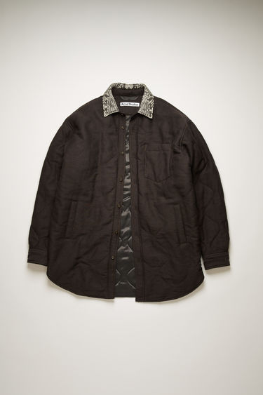 Acne Studios cacao brown padded overshirt is crafted from cotton quilted in a ripple pattern and features a python-print point collar, chest patch pocket and two side welt pockets.
