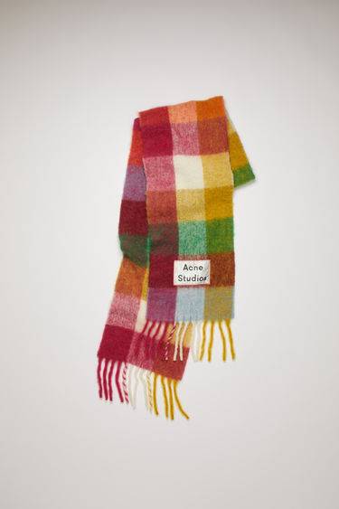 Acne Studios fuchsia/orange multi check scarf is spun with soft alpaca, wool and mohair and has an upscaled logo patch and fringed edges.