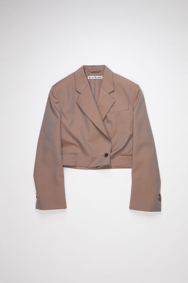Acne Studios brown/blue constructed suit jacket is made of an changeant wool with a cropped length.