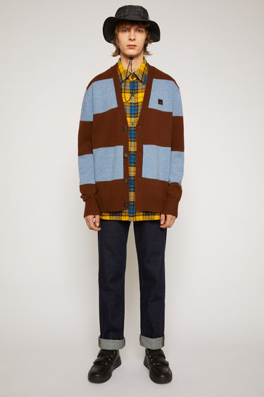 Acne Studios dark brown/mineral blue block-stripe cardigan is knitted from wool to a relaxed silhouette and accented with a face-embroidered patch on the chest.